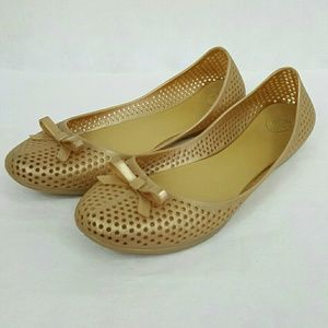 Dreamed by Melissa Mel Gold Perforated Flats 9